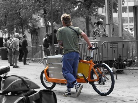 Guy with a Bullit Cargo Bike at Antwerp Trials WC 2016