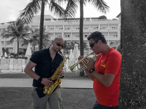 Music rehearsal at Guaruja Beach - Brazil