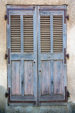 Weathered window shutters - Saint-Antonin-Noble-Val, France